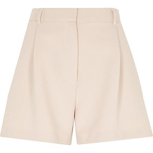 Light pink smart high waisted shorts