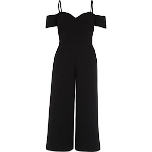 Black bardot fitted culotte jumpsuit