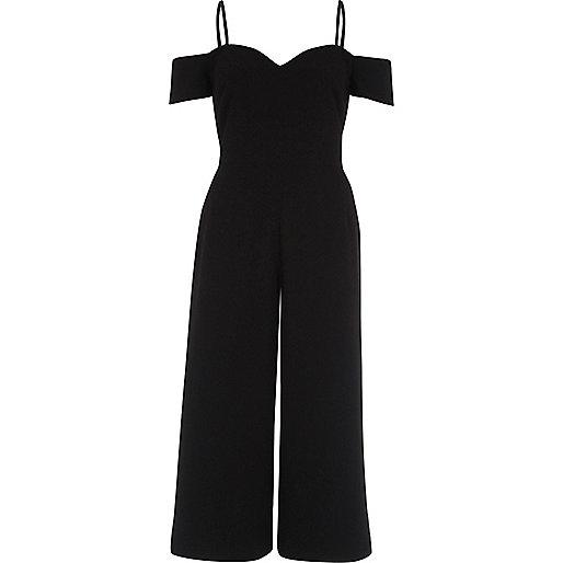 Combinaison noire ajustée style jupe-culotte à encolure Bardot