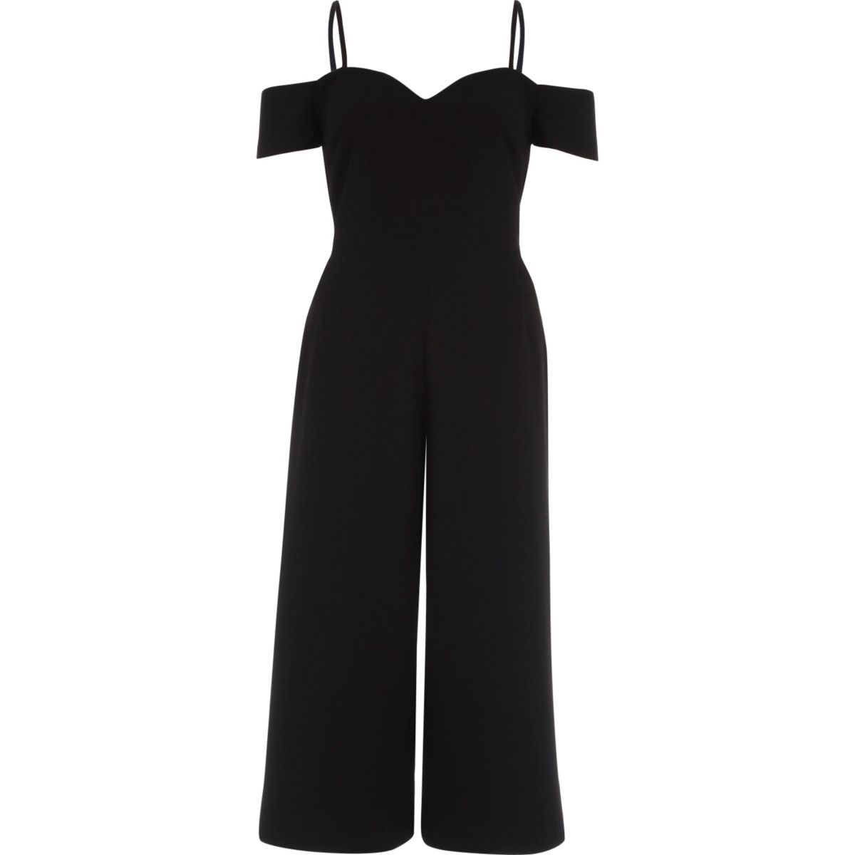 Black bardot fitted culotte jumpsuit