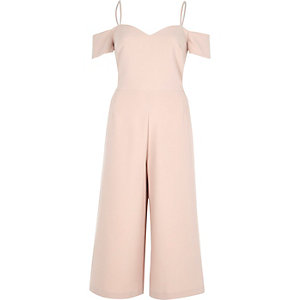 Light pink bardot fitted culotte jumpsuit
