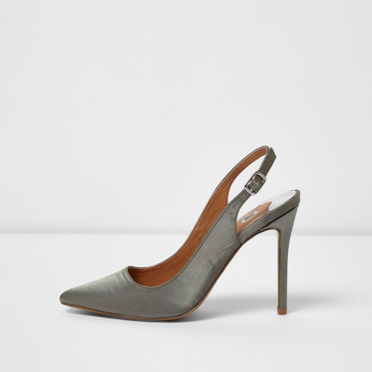 Khaki green satin slingback court shoes
