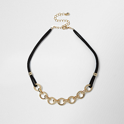 Gold circle chain necklace