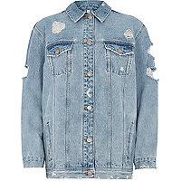 Light blue embroidered back denim jacket
