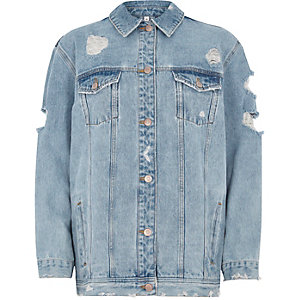 Light blue embroidered back denim jacket