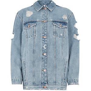 Veste en jean bleu clair avec broderies au dos