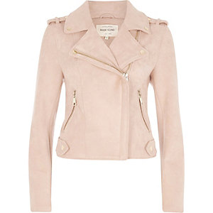 Light pink faux suede biker jacket