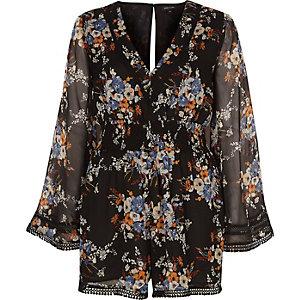 Schwarzer Kimono-Overall mit Blumenmuster
