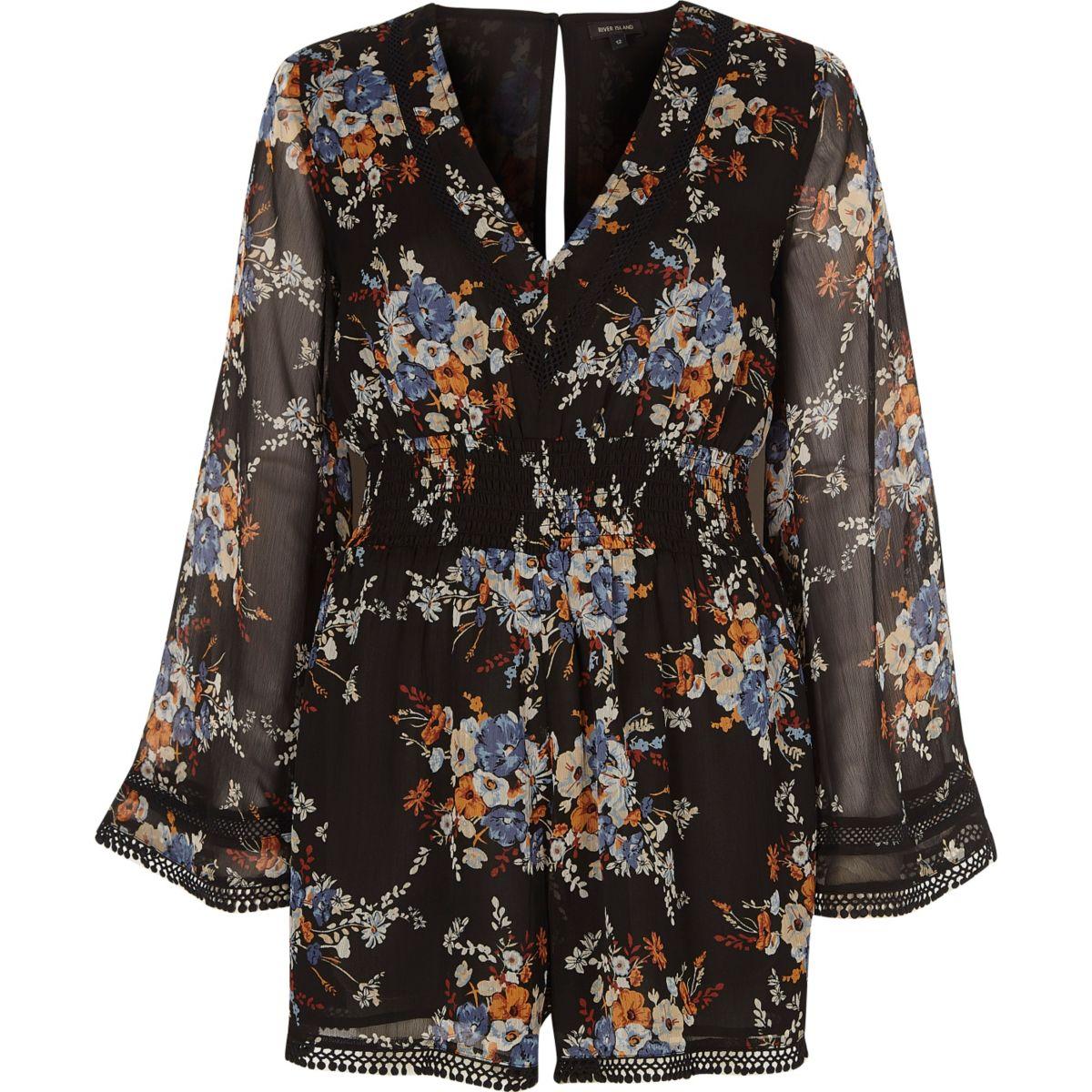 Combi-short style kimono en mousseline à fleurs noir