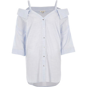 Light blue deconstructed cold shoulder shirt