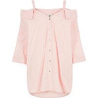 Pink cold shoulder shirt