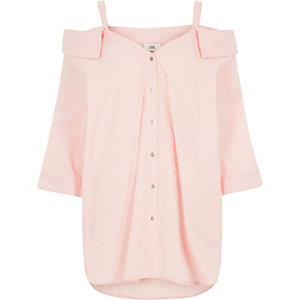 Pink cold shoulder shirt