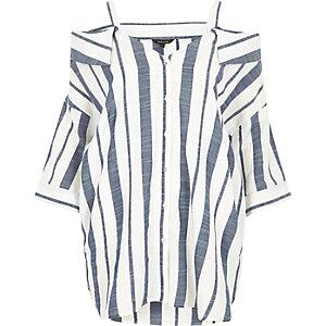 Navy stripe cold shoulder shirt
