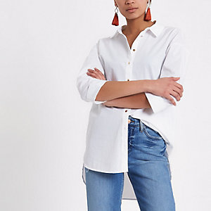 White long sleeve tie back shirt