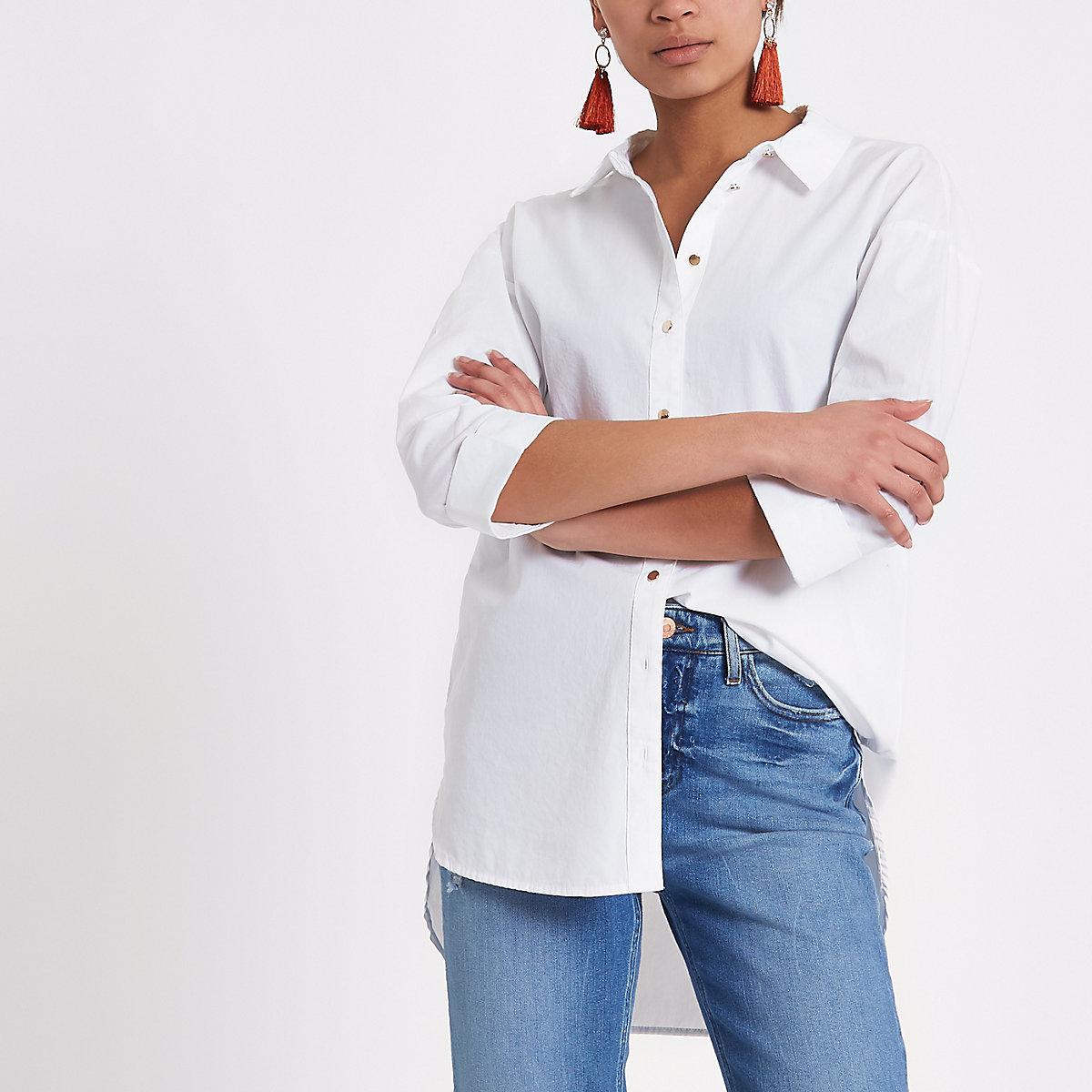 White long sleeve tie back shirt