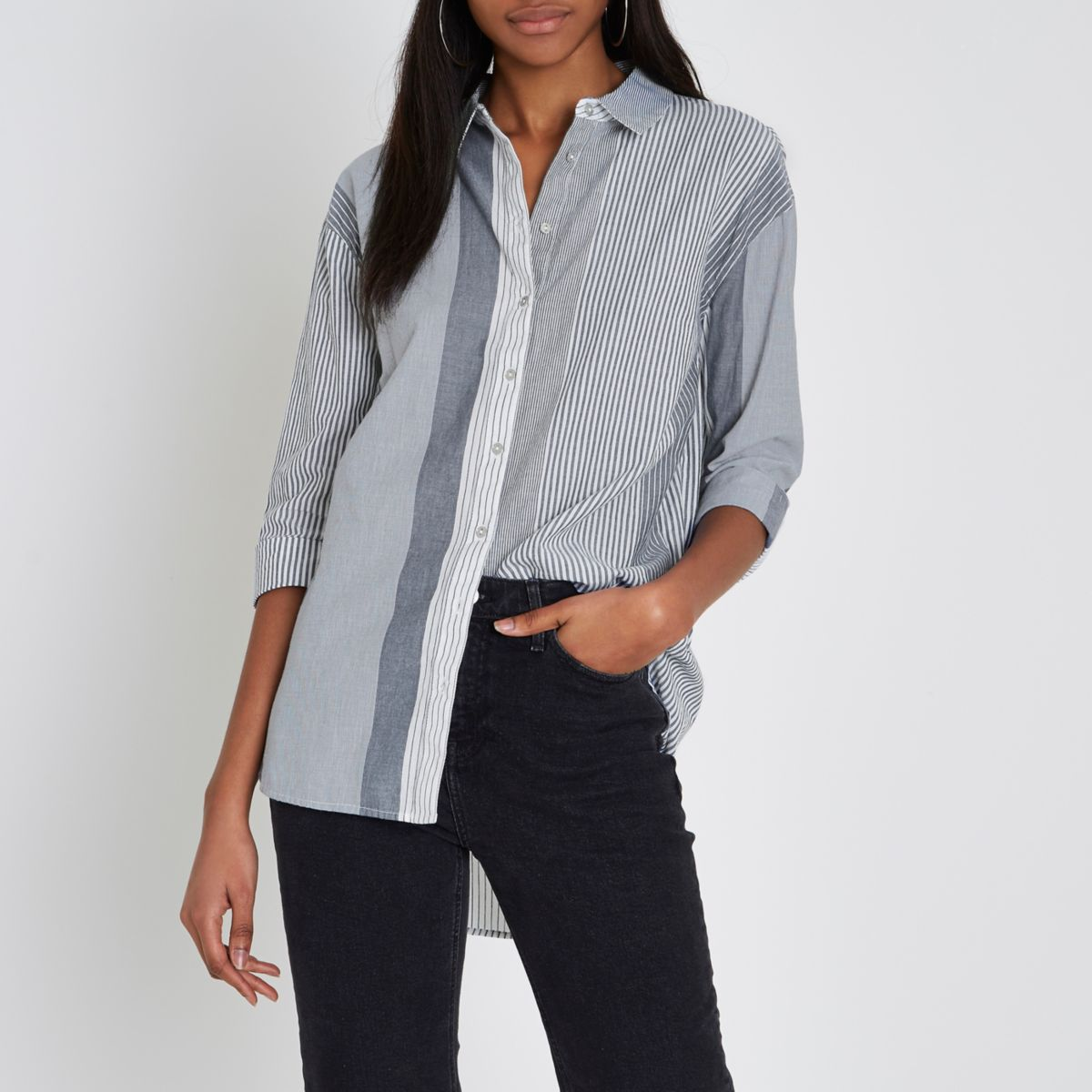 Navy mixed stripe tie back shirt