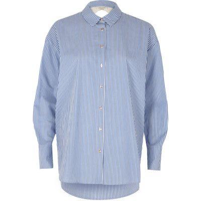 Blauw poplin overhemd met kanten rug en strepenprint