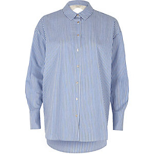 Blue stripe print lace back poplin shirt