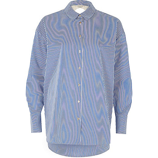 Blue stripe print lace back poplin shirt