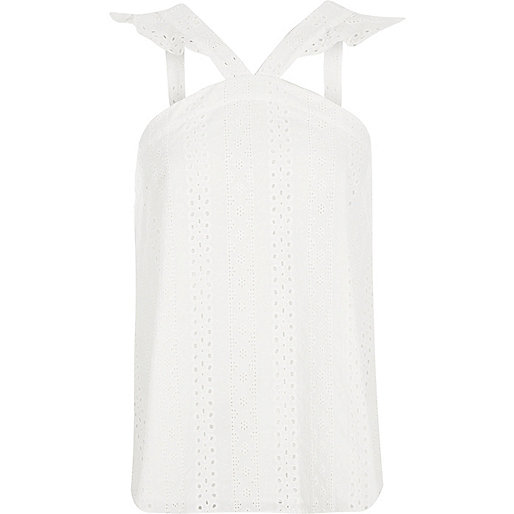 White broderie frill sleeveless top