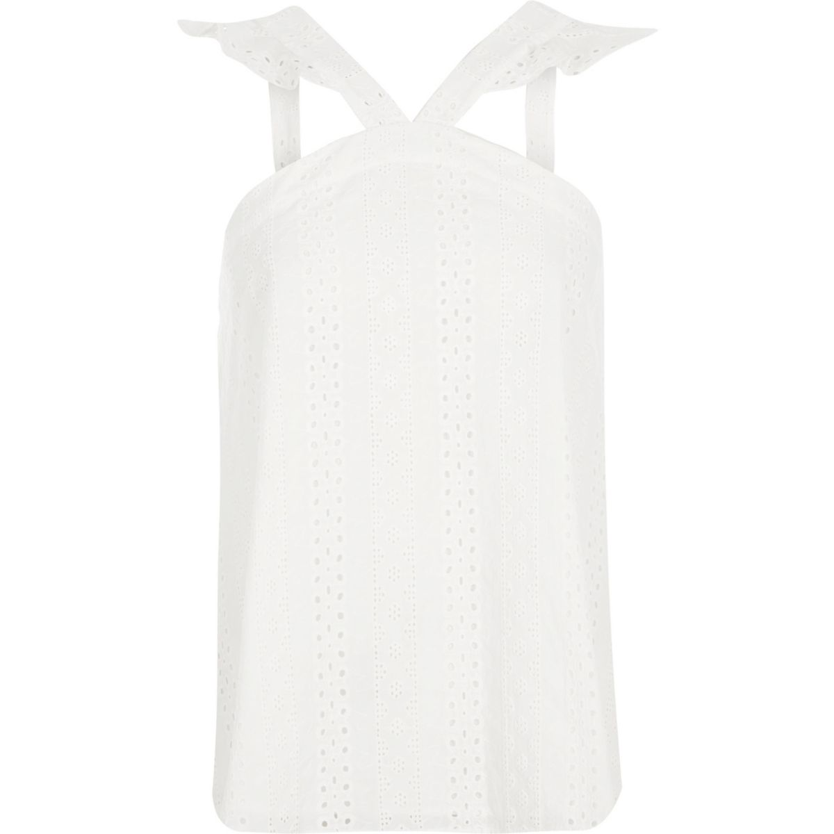 White broderie frill sleeveless top