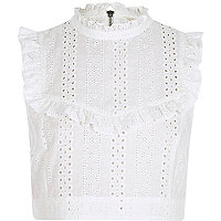 White broderie frill bib crop top