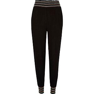 Pantalon de jogging noir froncé