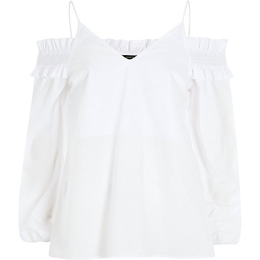 White long sleeve bardot cami strap top