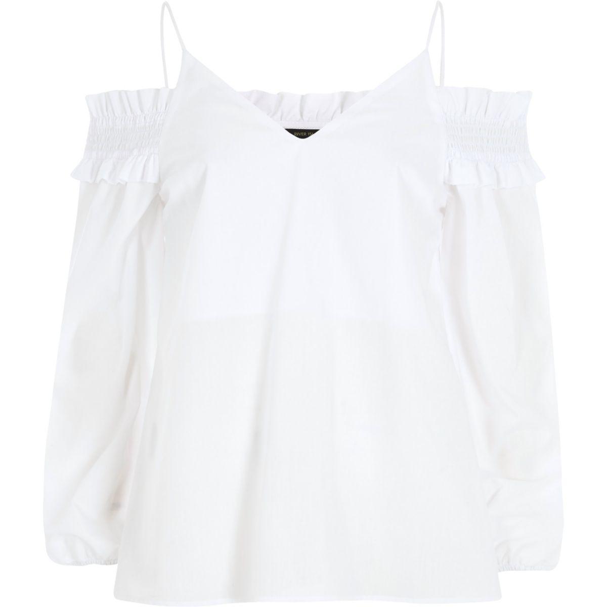 White long sleeve bardot cami strap top