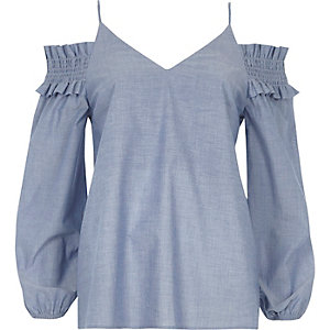 Blue chambray shirred cold shoulder top