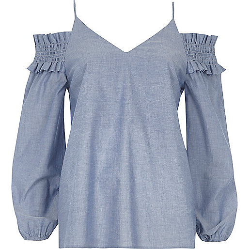 Blue chambray shirred cold shoulder top