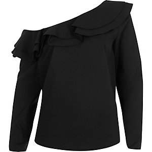 Black one shoulder frill long sleeve top