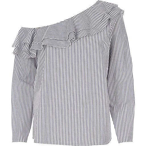 Blue stripe one shoulder frill top