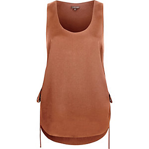 Brown gathered side vest