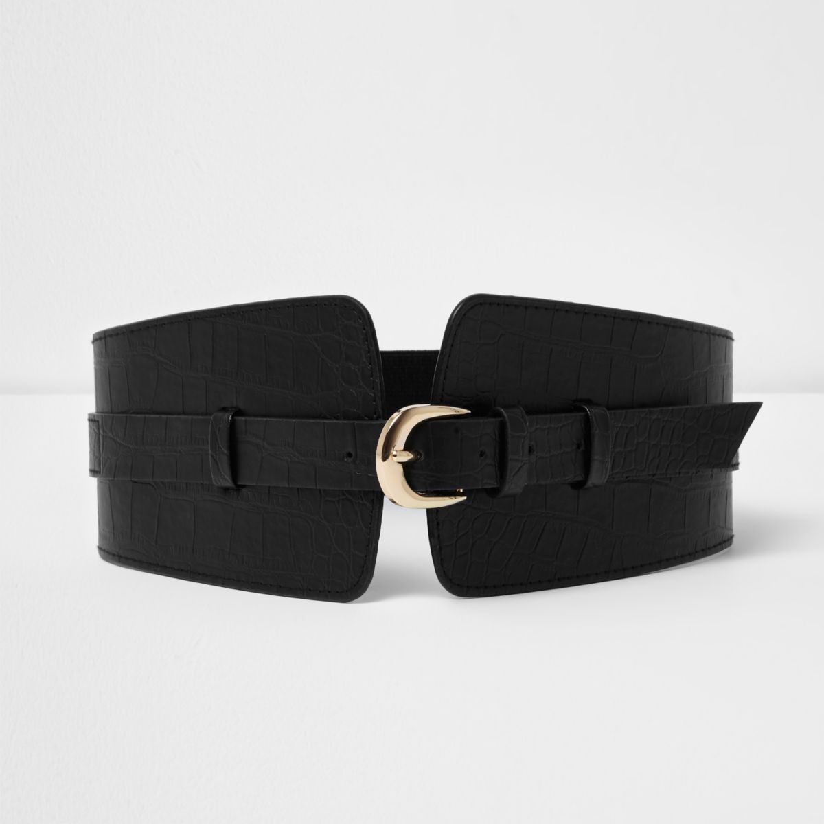 Black croc embossed wide waist belt