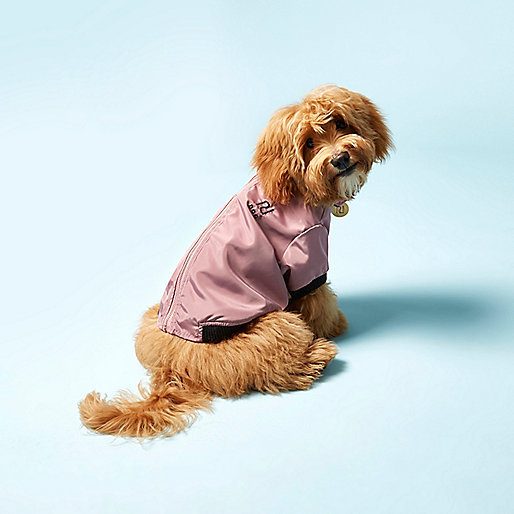 Pink RI Dog satin bomber jacket