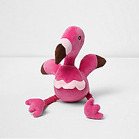 Pink RI Dog squeaky flamingo toy