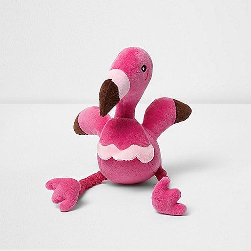 Pink RI Dog squeaky flamingo toy