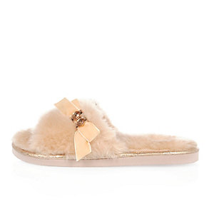Pink fluffy bow slider slippers