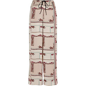 Cream floral wide leg palazzo pajama pants