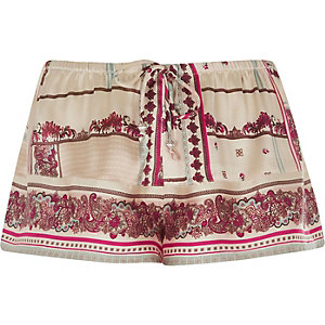 Cream spliced floral pajama shorts