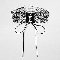 Black lace corset tie front choker
