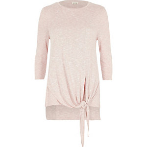Blush pink casual tie front top