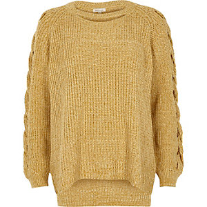 Yellow ribbed knit cut out jumper