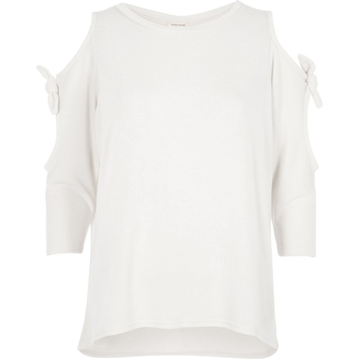 White tie sleeve cut out top