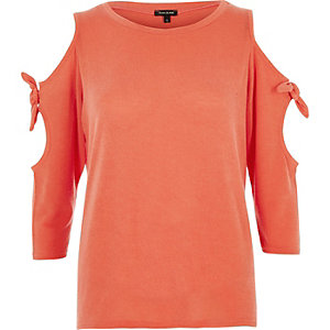 Orange tie sleeve cold shoulder top