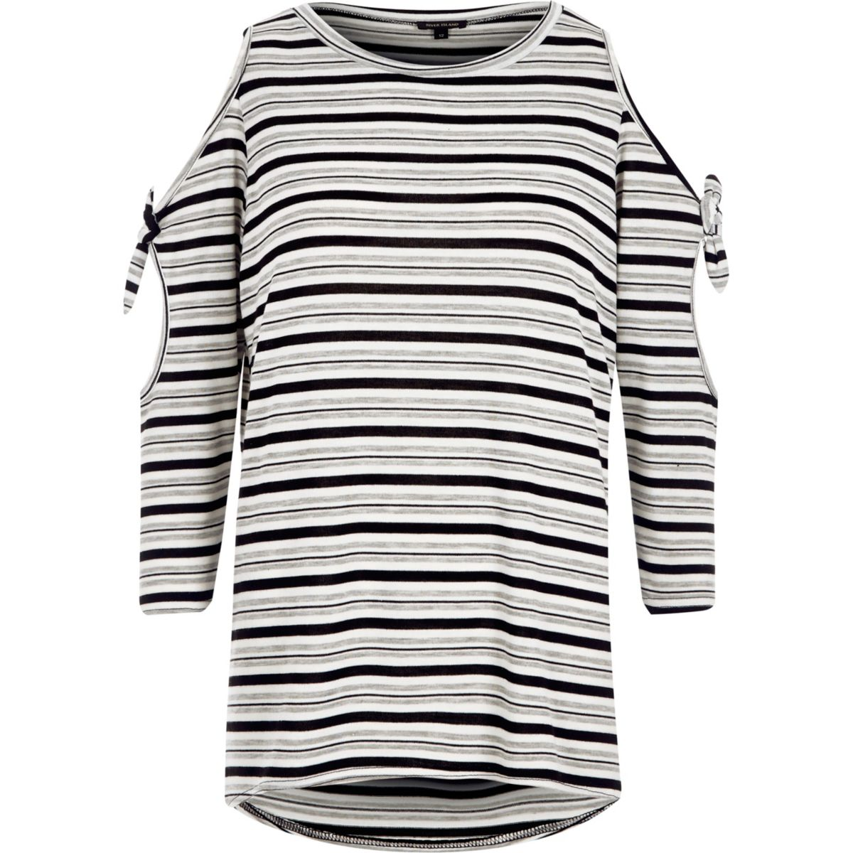 Grey knit stripe cold shoulder tie sleeve top