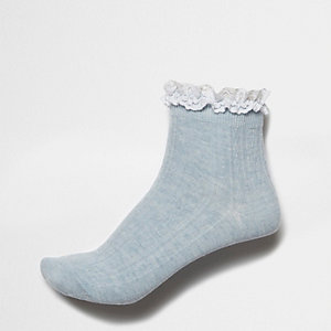 Blue frill cable knit socks