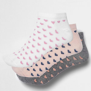 Pink heart print trainer socks pack