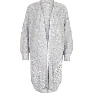 Grey cable knit detail longline cardigan